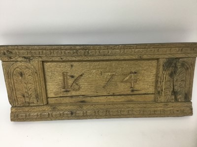Lot 8-17th century carved and dated oak plaque