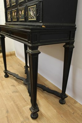Lot 600 - Fine 18th century and later Italian pietra dura and ebonised cabinet on stand
