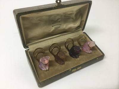 Lot 4-Christmas gift for the person who has everything: Box set of Lalique style menu holders