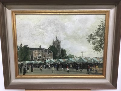 Lot 57 - Edward Dawson (1941-1999) oil on board , Norwich market place, signed, titled to label verso, 25 x 36cm