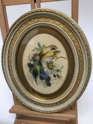 Lot 61 - Victorian botanical watercolour, unsigned, oval, 16 x 22cm, glazed frame