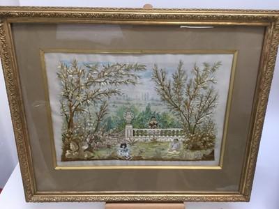 Lot 51 - 19th century silkwork embroidery, children in a garden, 36 x 51cm, glazed frame
