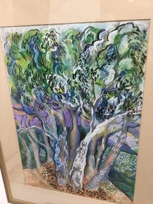 Lot 52 - Lindy Lange Grant (20th century) oil pastel, The wood garden, 51 x 37cm, glazed frame