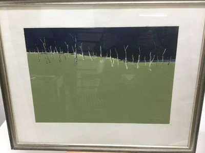 Lot 53 - Cliff Jones (1931-2000) colour print, hand finished, signed and dated '77, plate 32 x 48cm, glazed frame