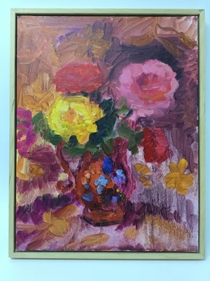 Lot 24 - Annelise Firth (b.1961) oil on board - still life of roses in a lustre jug, signed verso, framed, 45.5cm x 35.5cm