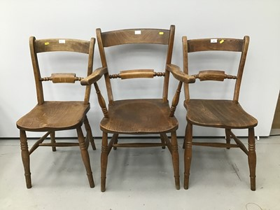 Lot 62 - Victorian elm and beech kitchen elbow chair with knife bar back together with two matching kitchen chairs