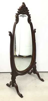 Lot 51 - Victorian-style mahogany cheval mirror