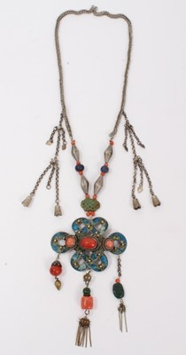Lot 1 - Chinese white metal enamelled open work panel necklace set with three coral cabochons and further coral and turquoise beads suspended from panel. The chain also set with coral, lapis lazuli and gre...
