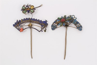 Lot 6 - Two old Chinese gilt metal hair pins with kingfisher decoration