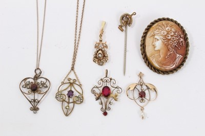 Lot 13 - Victorian seed pearl pendant, Edwardian open work pendant, three other similar pendants, stick pin and cameo brooch