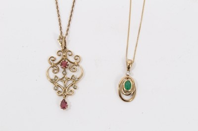 Lot 14 - Edwardian style 9ct gold open work pendant and 9ct gold emerald and diamond pendant necklace