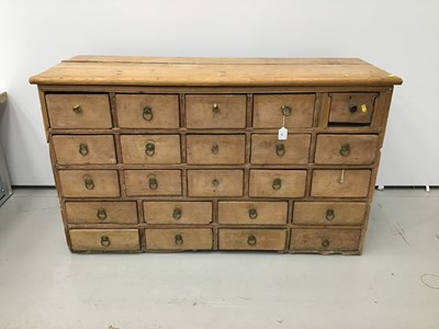 Lot 19 - 19th century pine apothecary's chest of 23 drawers
