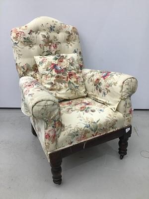 Lot 97 - Floral armchair