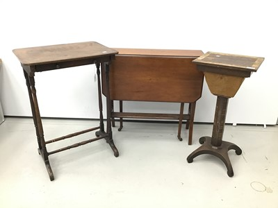 Lot 14 - Regency coromandel inlaid work table, together with a 19th century single drawer side table, spoon back chair and an early 20th century drop leaf table
