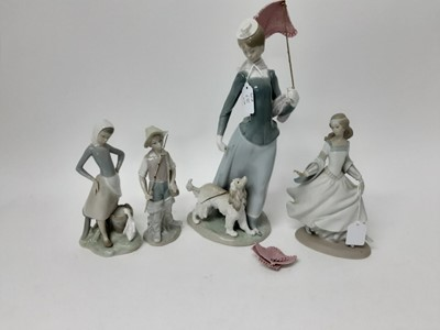 Lot 189 - Four Lladro porcelain figures, Four Lladro geese and a Nao goose (10)