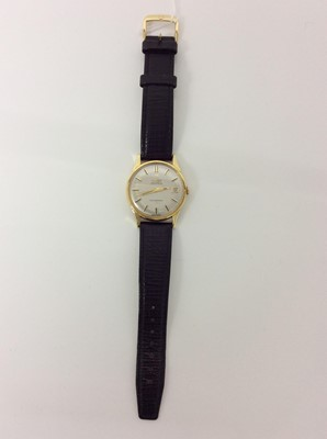 Lot 407 - 1960s gentlemens Omega 18ct gold Constellation wristwatch on omega black leather strap