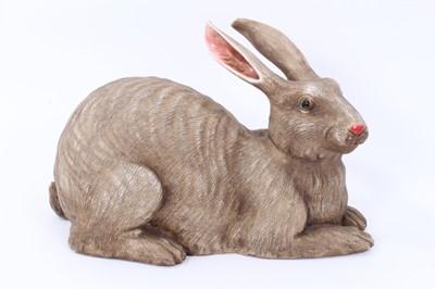 Lot 14 - Chinese porcelain life-size model rabbit
