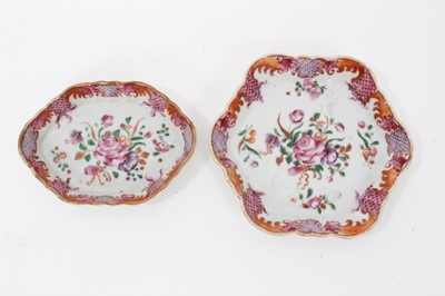Lot 17 - Two 18th century Chinese famille rose porcelain dishes, painted with floral sprays, 12cm and 14cm across