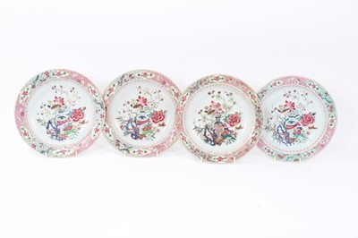 Lot 19 - Set of four 18th century Chinese famille rose export porcelain dishes, Yongzheng/Qianlong period, each painted with a floral pattern with central vase motif, the borders with floral patterns on geo...