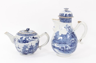 Lot 21 - Similar antique Chinese export blue and white porcelain teapot and coffee pot, painted with landscape scenes, with moulded handles and spouts, 13.5cm and 23.5cm height