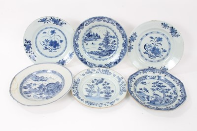 Lot 24 - Six 18th century Chinese blue and white porcelain dishes