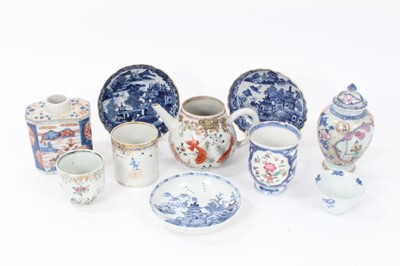 Lot 28 - Group of 18th century Chinese porcelain, including an Imari tea caddy, famille rose tea caddy, three blue and white saucers, blue and white tea bowl, a teapot and cup painted with goldfish, a famil...