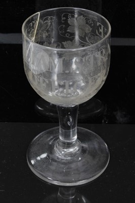 Lot 32 - Unusual antique Georgian glass goblet, engraved 'WILLIAM STRANGE OFFICER', with etched and cut grapevine decoration, 15.5cm height