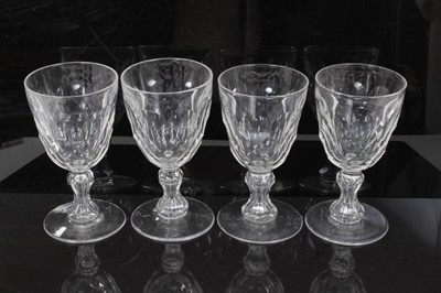 Lot 33 - Set of four antique Georgian cut glass goblets, with facet-cut round funnel bowls, and facet-cut waisted stems