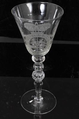 Lot 40 - Georgian 'Newcastle' light baluster armorial wine glass