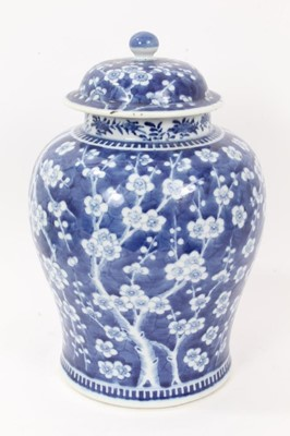 Lot 45 - Large antique 19th century Chinese blue and white porcelain ginger jar and cover, painted with prunus blossom, 32cm height including cover