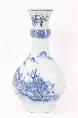 Lot 46 - Antique 18th century Chinese blue and white porcelain guglet vase, of hexagonal form, decorated with landscape scenes, 25.5cm height
