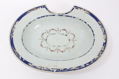 Lot 47 - Antique 18th century Chinese famille rose porcelain barber's bowl, 31.5cm width