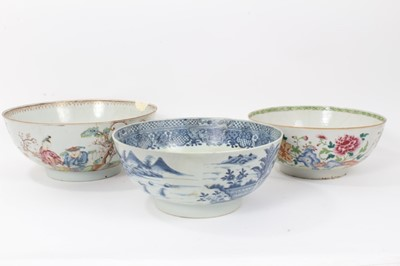 Lot 48 - Three large 18th century Chinese export porcelain bowls