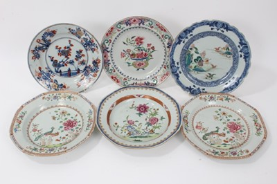 Lot 49 - Six antique 18th century Chinese export porcelain dishes