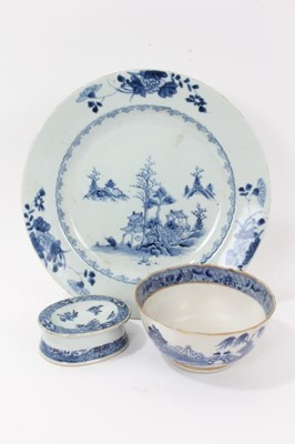 Lot 51 - Three pieces of 18th century Chinese blue and white export porcelain, including landscape painted dish and bowl, and a salt painted with floral sprays, the dish measuring 27.5cm diameter