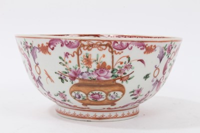 Lot 53 - Antique 18th century Chinese famille rose export porcelain bowl, well decorated with baskets of flowers, floral sprays and foliate patterns, 13.5cm diameter