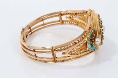 Lot 340 - Fine quality 19th century French Etruscan revival gold turquoise, diamond and pearl hinged bangle, the central rosette with a pearl surrounded by rose cut diamonds to the petals and carved turquois...