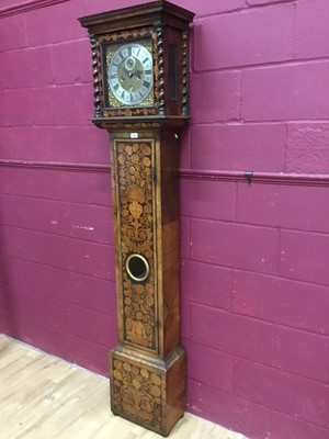 Lot 900 - Fine Early 18th century eight day longcase clock in walnut marquetry case with square brass and silvered dial signed William Grimes, London . Gilt cherub spandrels, ringed winding holes, subsidiary...