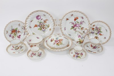 Lot 60 - Dresden china tea service, c.1920, of fluted form, painted with floral sprays, including ten coffee cups and saucers, fourteen tea cups and seventeen saucers, one jug, one slop bowl, one muffin dis...