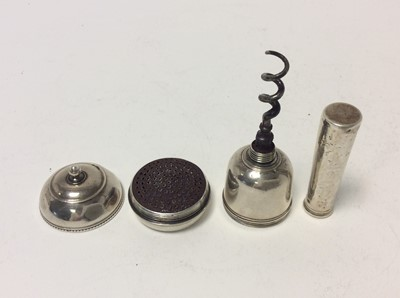 Lot 169 - Rare and unusual Georgian silver combination nutmeg grater and corkscrew in the form of a mace, the screw fit cover with ball finial concealing the grater and screw-off tubular sheath that opens