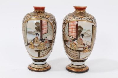 Lot 61 - Pair of Japanese Kutani porcelain miniature vases