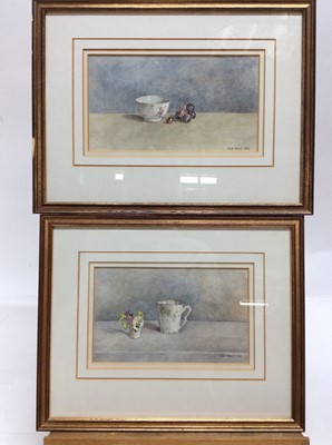 Lot 81 - Sue Read R.I. pair of watercolours - Still life of tea cups, pansies and grapes