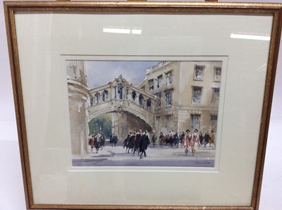 Lot 82 - Dennis Page watercolour - Degree Day Hertford College, Oxford