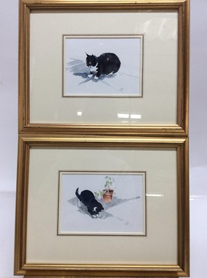Lot 84 - Leslie Fotherby (b. 1946) pair of watercolours - Muffin the cat