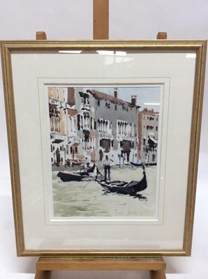 Lot 85 - John Yardley (b. 1933) watercolour - Gondolas and Pallazzi