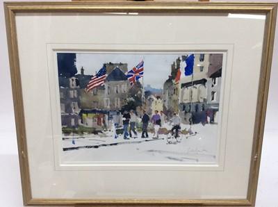 Lot 86 - John Yardley (b. 1933) watercolour - D-Day flags, Cherbourg