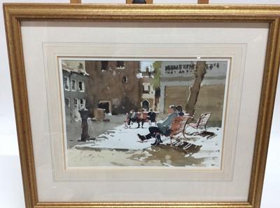 Lot 88 - John Yardley (b. 1933) watercolour- Taking a Break, Venice