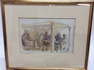 Lot 89 - Kenneth Gribble pen, ink and watercolour study - Cafe Falmouth