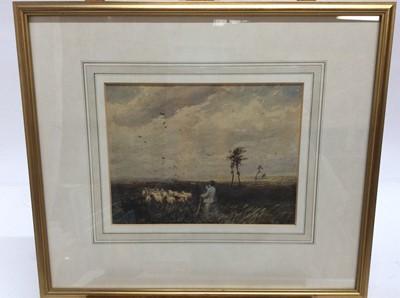Lot 91 - Follower of David Cox watercolour- Moorland Scene