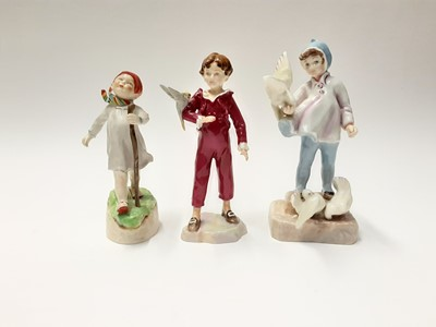 Lot 163 - Three Royal Worcester figures, Fantails 3760, The Parakeet 3087 and Thursday's child has far to go 3260